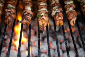 shish kabobs at camp